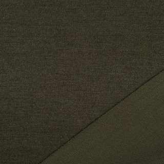 Трикотаж костюмный двухсторонний хаки, ш.150 оптом
