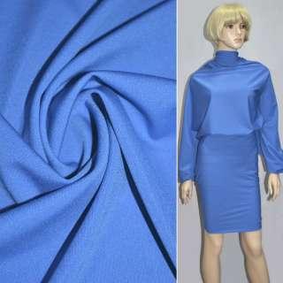 Трикотаж костюмный облегченный синий светлый ш.160 оптом