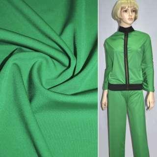 Трикотаж костюмный облегченный зеленый ш.160 оптом