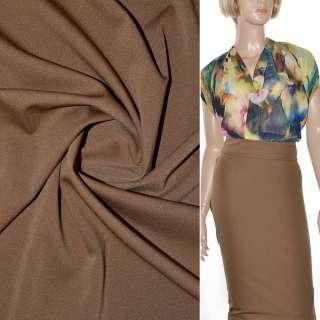 Трикотаж костюмный стрейч облегченный коричневый светлый ш.160 оптом
