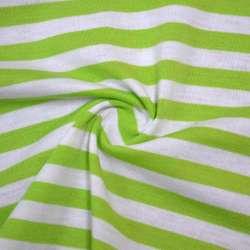 Трикотаж молочный в зеленые полоски ш.175 оптом