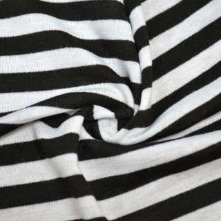Трикотаж білий в чорні смужки ш.180 оптом