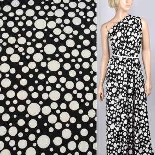 Трикотаж структурные штрихи черный в белый горох ш.160 оптом
