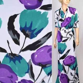 Трикотаж структурные штрихи белый с маками фиолетовыми, бирюзовыми ш.160 оптом