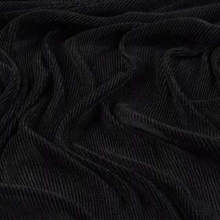 Трикотаж гофре черный ш.160 (продается в натян. виде) оптом