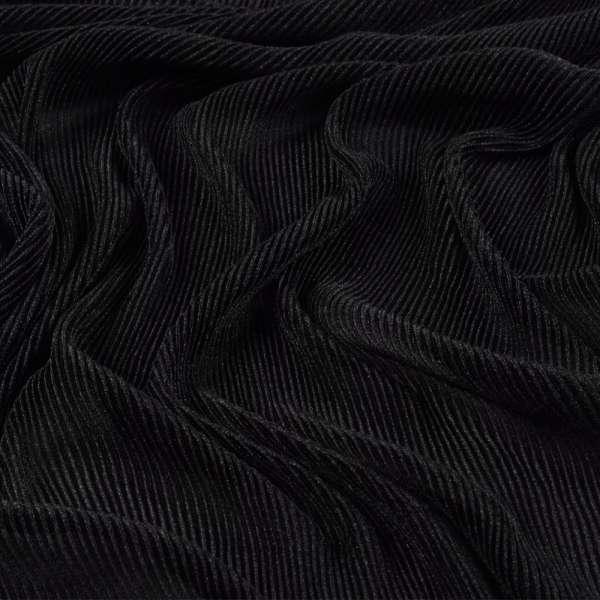 Трикотаж гофре черный ш.160 (продается в натянутом виде) оптом