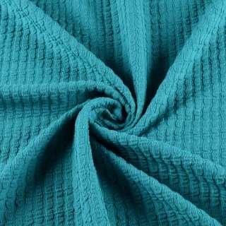 Трикотажное полотно сине зеленое в жатый полоску ш.150 оптом