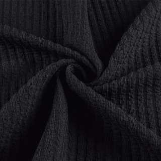 Трикотажное полотно черное в жатую полоску ш.150 оптом