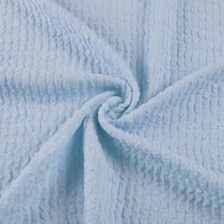 Трикотажное полотно голубое в жатую полоску ш.150 оптом