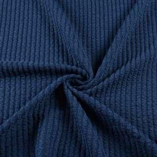 Трикотажное полотно синее в жатую полоску ш.160 оптом