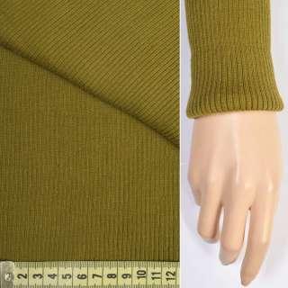 Трикотажное полотно резинка (манжет) горчичная ш.80 оптом