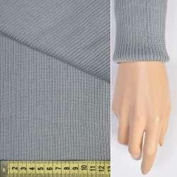 Трикотажное полотно резинка (манжет) серо-голубая ш.80 оптом