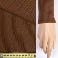 Трикотажное полотно резинка (манжет) коричневая ш.70 оптом