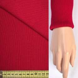 Трикотажное полотно резинка (манжет) красная яркая ш.65 оптом