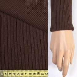 Трикотажное полотно резинка (манжет) коричневое ш.78 оптом