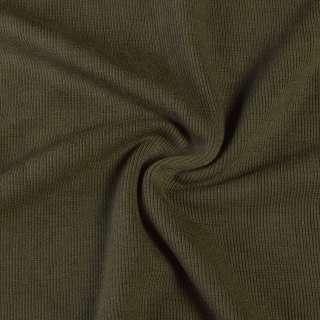 Трикотажное полотно резинка хаки, ш.110 оптом