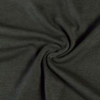 Трикотажное полотно резинка серо-зеленое темное, ш.110 оптом