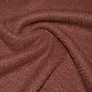Трикотаж вязаный двухсторонний акриловый коричнево красный ш.170 оптом