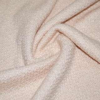 Трикотаж вязаный двухсторонний акриловый розовато персиковый ш.165 оптом