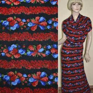 Трикотаж черный в красные полоски из мелких цвет. синие цветы ш.165 оптом