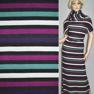 Трикотаж в полоску черно белую+фиолетово зеленую ш.164 оптом
