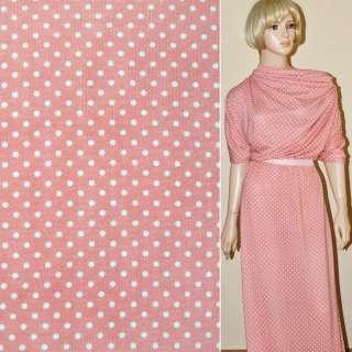Трикотаж рожевий в білий горох ш.165 оптом