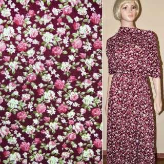 Трикотаж бордовый с розово белыми цветами ш.160 оптом