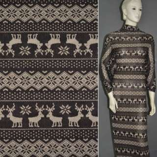 Трикотаж коричневый с орнаментом и оленями ш.160 оптом