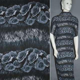 Трикотаж в черно серые полосы с розами (рапорт)ш.160 оптом