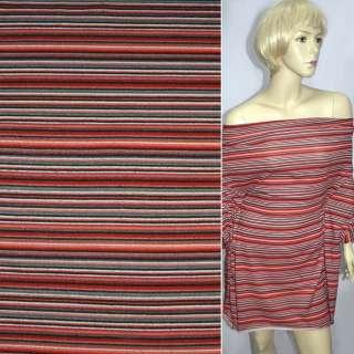 Трикотаж красный в мелкие черно серые полоски ш.160 оптом