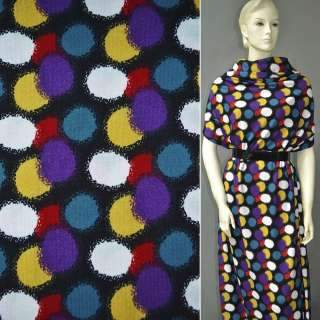 Трикотаж черный в желто фиолетово красные овалы ш.160 оптом
