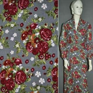 Трикотаж светло серый с бордовыми цветами ш.160 оптом