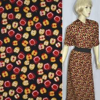 Трикотаж темно коричневый с желто красными яблоками ш.160 оптом
