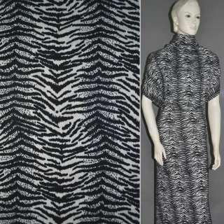 Трикотаж белый с черным принтом зебра ш.160 оптом
