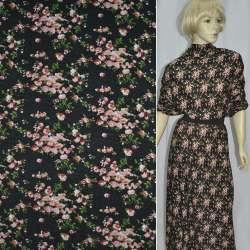 Трикотаж черный в мелкие розовые цветы (шерст.) ш.165 оптом