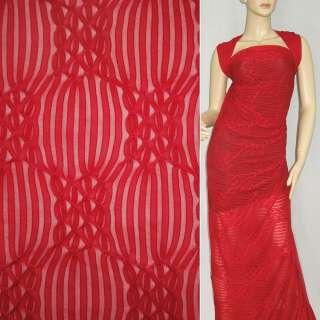 Трикотаж красный с ажурными полосками ш.160 оптом