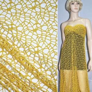 Сетка кружево желтая ш.160 оптом