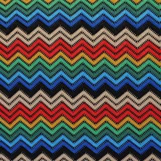 Трикотаж ажурний зигзаг червоно-синьо-зелений, ш.150 оптом