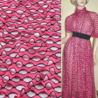 Трикотаж розовый волны с овальными дырочками ш.160 оптом