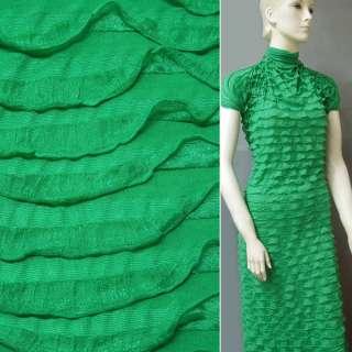 Трикотаж зеленый с рюшами ш.150 оптом