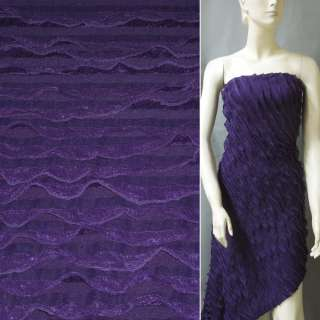 Трикотаж фиолетовый с рюшами ш.150 оптом