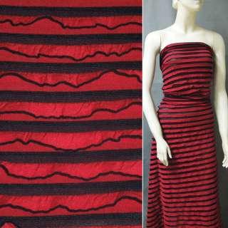 Трикотаж красный с черные полоски и рюшами ш.150 оптом