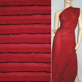 Трикотаж красный с черными полосками и рюшами ш.160 оптом