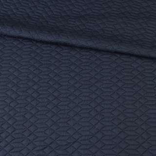 Трикотаж двойной синий темный, стеганые квадраты, ромбы, ш.155 оптом