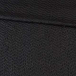 Трикотаж двойной черный, стеганая елочка, ш.150 оптом
