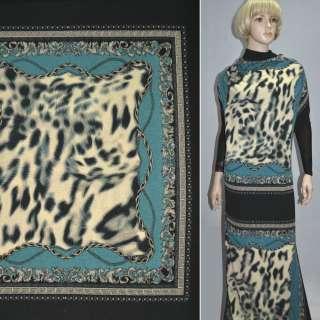 Трикотаж черно-бирюзовые платки ш.150 оптом