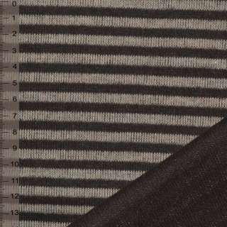 Трикотаж двухсторонним коричнево бежевый в полоску ш.150 оптом