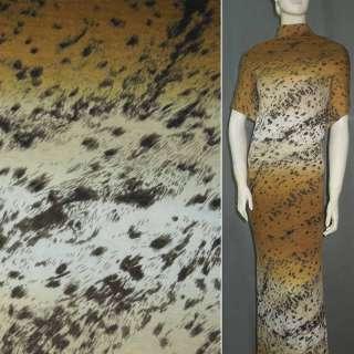 Трикотаж бежево-терракотовый с коричневый принт леопард (раппорт) ш.160 оптом