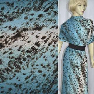 Трикотаж сине-голубой с коричневый принт леопард (раппорт) ш.160 оптом