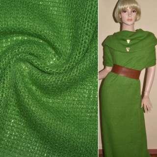 Трикотаж вязаный зеленый шерст. ш.170 оптом